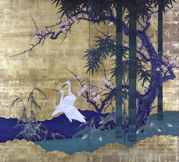 Bamboo, Plum, and a Pair of Egrets
