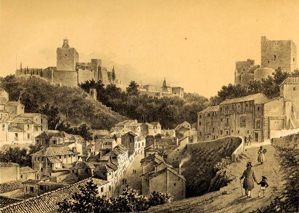 Vista de la Alhambra las Torres Bermejas y Calle de los Gomeles (Granada)