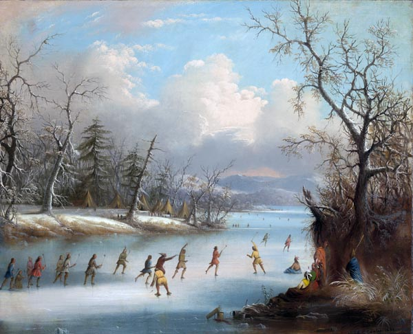 Indians Playing Lacrosse on the Ice