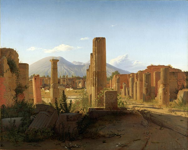 The Forum, Pompeii, with Vesuvius in the Distance
