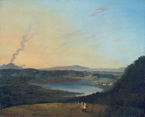 Lago d'Agnano with Vesuvius in the Distance