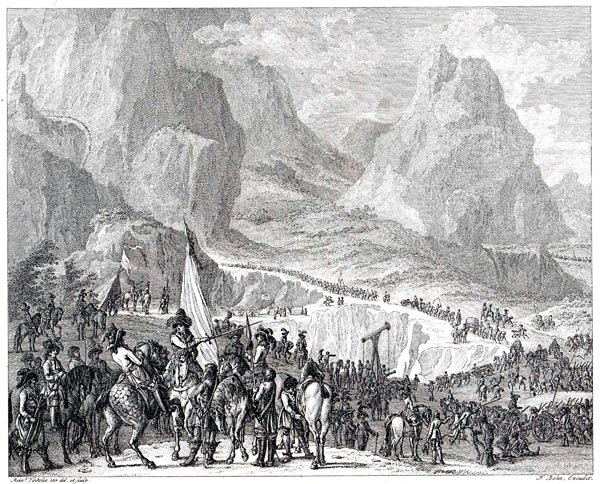 Eugene of Savoy with his Troops at Mont Cenis