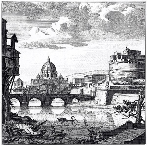 View of Rome Along the Tiber