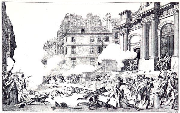 Journée du 13 Vendémiaire an IV; église Saint-Roch, rue Honoré (Dessin de Monet, Gravure de Duplessis-Bertaux)