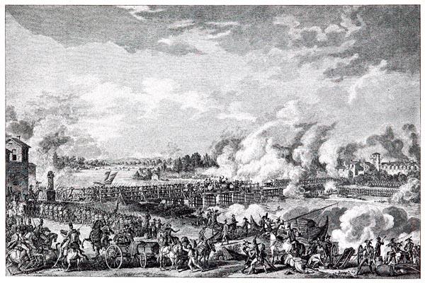 Passage du Pont de Lodi (9 mai 1796) d'Après le Dessin de Carie Vernet et la Gravure de Duplessis-Bertaux