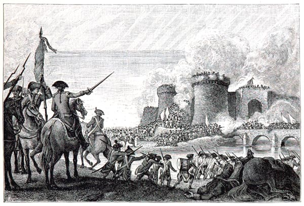 Reprise de la Ville de Toulon par les Armées de la République. Gravure de la Collection Hennin