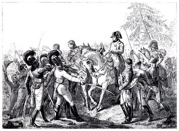 Napoléon Harangue les Troupes Bavaroises et Wurtembergeoises à Abensberg (20 avril 1809), Peint par Debret.