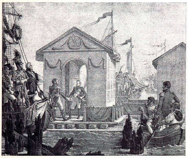 Entrevue de Napoléon Ier et de l'Empereur Alexandre, à Tilsit, Tableau de Gautherot, d'Après une Lithographie de Levilly