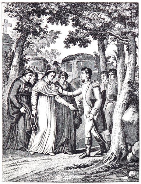L'Empereur va au-Devant du Pape à Fontainebleau, (1804), (Dessiné par Mounet)