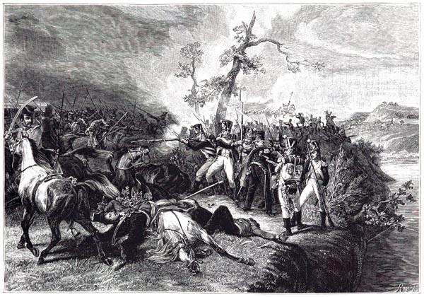 Enfants de Paris Devant Witepsk. 200 Voltigeurs du 9e Régiment Repousantles Charges des Cosaques de la Garde à la Traversée de la Dwina (27 juillet 1812). Tableau d'Horace Vernet, d'Après la Gravure de Jazet