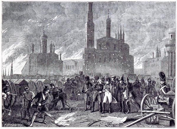 Incendie de Moscou - le Général Lariboisière Force Napoléon à Quitter le Kremlin, Menacé d'un Formidable Explosion