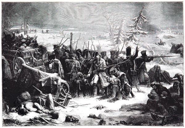 Retraite de Russie. Le Maréchal Ney Soutient l'Arrière-Garde de la Grande Armée. Tableau de Yvon, au Musée de Versailles