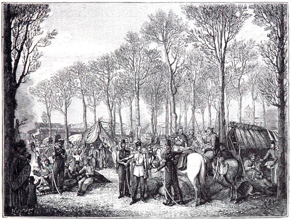 Bivouac des Cosaques, dans les Champs-Élysées, à Paris, d'Après une Aquarelle de G. Opiz (Collection Hennin)