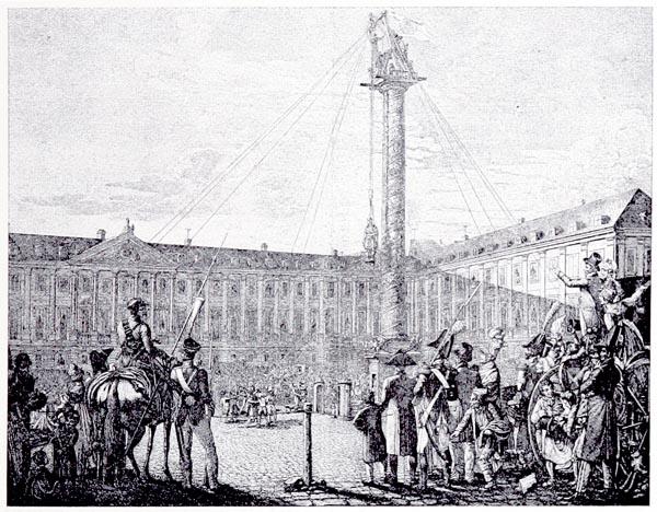 Descente de la Statue de Napoléon de la Colonne Triomphale sur la Place Vendôme, d'Après un Dessin de G. Opiz