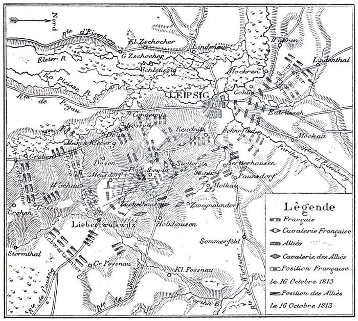 Plan de la Bataille de Leipzig, dite la Bataille des Nations