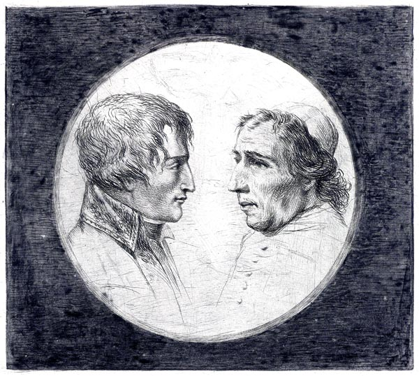 Double portrait of Napoleon Bonaparte and Pope Pius VII
