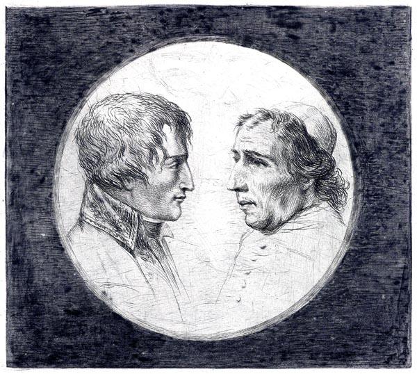 Double portrait of Napoleon Bonaparte and Pope Pius VII