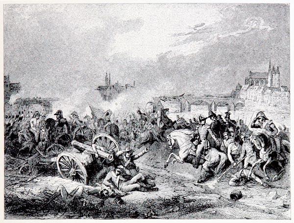 Bataille de Montereau, 18 février 1814. Peint par Ch. Langlois