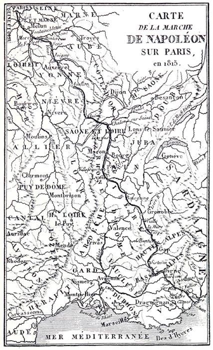 Carte Indiquant la Marche de Napoléon sur Paris en 1815