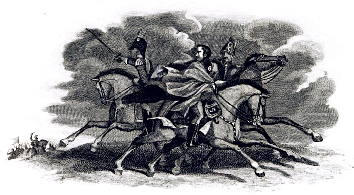 The Terror and Flight of Bonaparte After the Battle of Waterloo Leaving his Hat and Sword in his Carriage