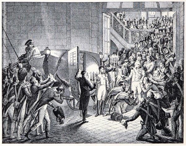 Départ du Roi, le 19 mars 1815. Dessiné par Heim, Gravé par Couché Fils