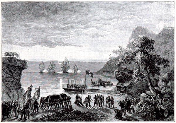 Le Corps de Napoléon Quitte la Terre d'Exil à Sainte-Hélène, le 16 octobre 1840. Lithographie de Monthelier