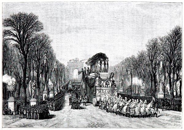 Funérailles de l'Empereur — Passage du Cortège dans les Champs-Élysées, 15 Décembre 1840 - d'Après un Dessin de Ferogio et Girard