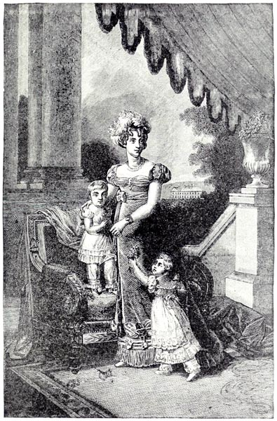 The Duchess of Berry and her Children. From a Steel Engraving by Delannoy. Original painting by François Pascal Gerard (1770-1837)