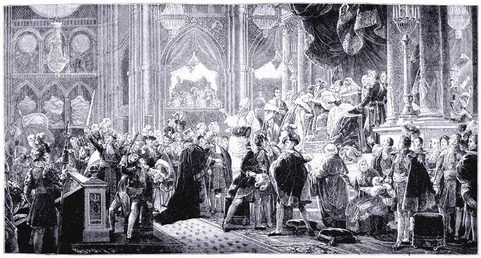 The Anointing of Charles X. of France in the Cathedral of Rheims on May 29, 1825. From a Steel Engraving by Dien of the Original Painting by François Pascal Gérard (Versailles, Historical Gallery)