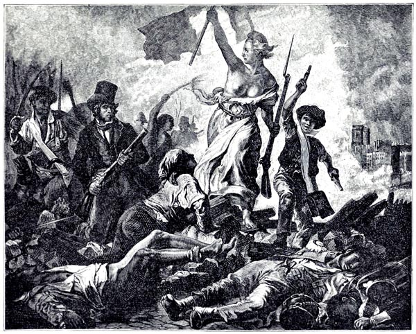 July 28, 1830, In Paris; Liberty Leading the People. Painting by Ferdinand Victor Eugène Delacroix (1799-1863)