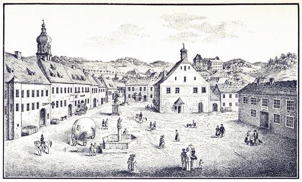 Marktplatz zu Waldmünchen 1850