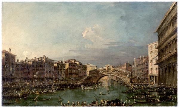 Regatta on the Canale Grande near the Rialto Bridge in Venice