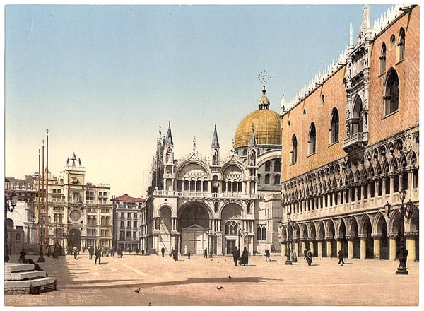 Clock tower, St. Mark's, and Doges' Palace, Piazzetta di San Marco, Venice