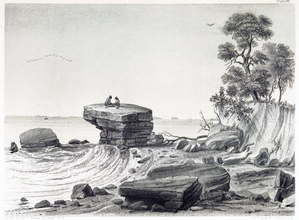 View of Inscription Rock on South Side of Cunningham's Island, Lake Erie