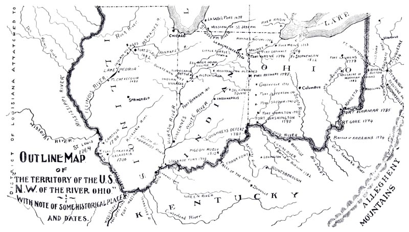 Outline Map of the Territory of the U.S. N.W. of the River Ohio