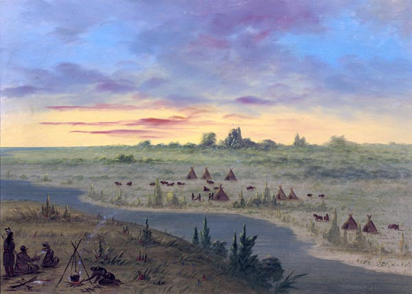 Encampment of Pawnee Indians at Sunset