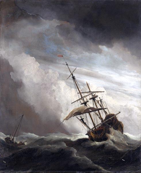 "A Ship on the High Seas Caught by a Squall, Known as ""The Gust"""