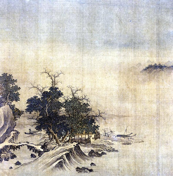 Fishing Village in Moonlight, Gu Liang (15th century)