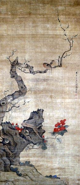 Red Camellia, Plum, Bamboo and Wild Birds, Shen Wuji (ca. 1620 - 1660)