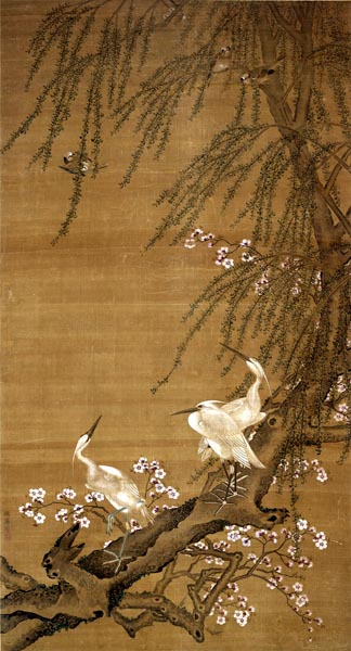 Egrets, Small Birds, Willows and Peach Blossoms, Zhao Yong (b. 1289)