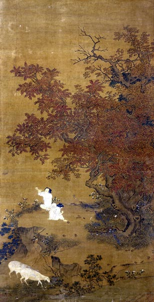 Two Boys Playing in a Garden with Sheep, Zhao Yong (b. 1289)