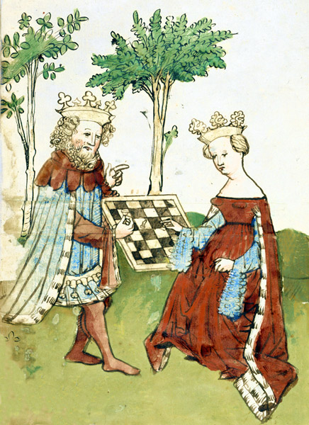 King and Queen playing chess