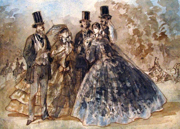 Meeting in the Park - Constantin Guys (French, 1802 – 1892)