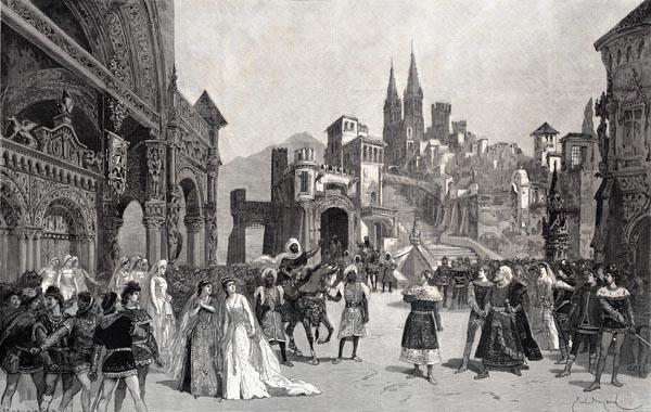 L'Envoyé de Boabdil le Maure Déclarant la Guerre au Roi de Castille (2e Acte, 4e Tableau). Décor de MM. Robbechi et Amable