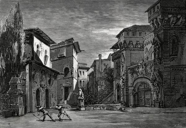 La Mort du Comte de Gomes (2e Acte, 3e Tableau). Decor de MM. Robbechi et Amable