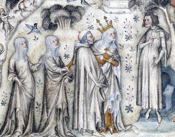 Guillaume de Machaut receiving Nature and three of her children.