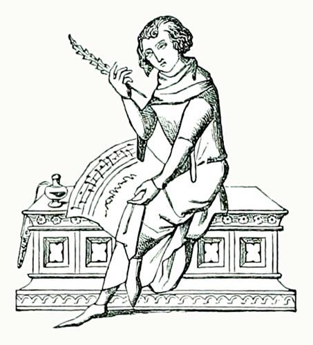 Guillaume de Machaut receiving Nature and three of her children.