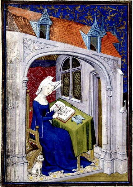 Christine de Pizan in her study at the beginning of the Cent balades