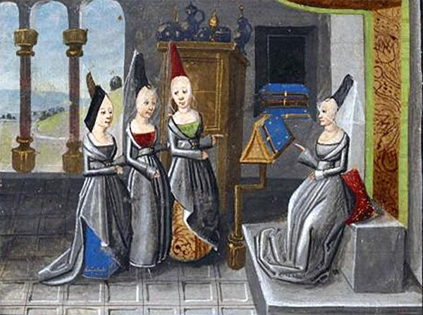 Miniature of Christine, seated with a book, talking to three ladies