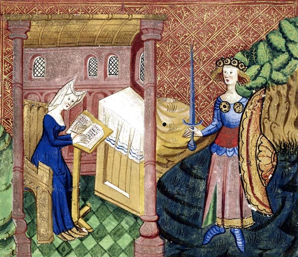 Detail of a miniature of Christine in her study, writing, and, standing outside to the right, the goddess Minerva, armoured, crowned, and carrying a sword and shield.